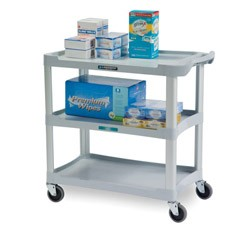 plastic utility cart light grey 3 shelf 16 w x 28 1 2. Black Bedroom Furniture Sets. Home Design Ideas