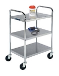 Utility Cart Chrome Plated Legs/Frame: 3 shelf; 15-1/2