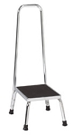 Step Stool: Chrome Step Stool with Handrail; dimensions: 11