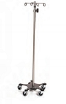 Infusion Pump Stand, Five-Leg, Stainless Steel, 2-Hook Top 16