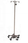 Infusion Pump Stand, Five-Leg, Stainless Steel, 4-Hook Top 16