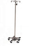 Infusion Pump Stand, Five-Leg, Stainless Steel, 6-Hook Top 16