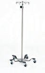 Infusion Pump Stand, Five-Leg, Stainless Steel, 2-Hook Top 22