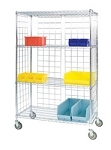 Round Post Enclosed Wire Carts: 3-Sided Cart; Dimensions: 18