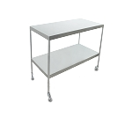 Instrument Table w/ Shelf (24x 36 x 34) Stainless Steel w/ Heavy Duty Casters