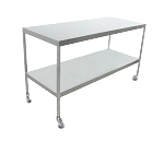 Instrument Table w/ Shelf (24 x 72 x 34) Stainless Steel w/ Heavy Duty Casters