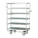 Heavy Duty Narrow Width Cart: U-shaped tubular frame, 6 shelf; 21
