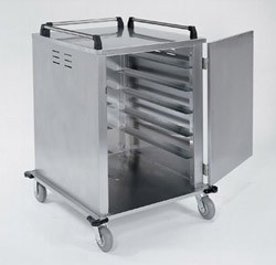 "Tray Delivery Carts Stainless Steel: tray capacity: 12ea. 14"" W x 18"" L or 15"" W x 20"""