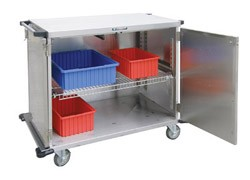 "Stainless Steel Closed Cart, Two Door: WIRE Shelf Width: 36"": 48-1/2"" W x 29"" D x 55"""
