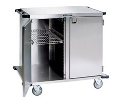 "Stainless Steel Closed Cart, Two Door: WIRE Shelf Width: 13-1/2"": 43-1/2"" W x 29"" D x 55"""