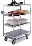 Heavy Duty Narrow Width Cart: U-shaped tubular frame, 4 shelf; 21
