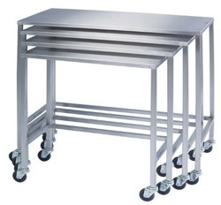 "Stainless Steel Instrument Nesting Table: 16"" W x 32"" L x 34"""