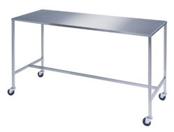 "Stainless Steel Instrument Table with H-Brace: 24"" W x 72"" L x 34"""