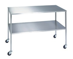 "Stainless Steel Instrument Table with Shelf: 24"" W x 72"" L x 34"""
