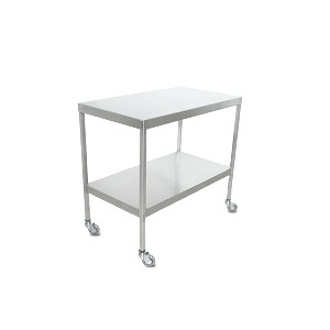 Instrument Table w/ Shelf (20 x 36 x 34) Stainless Steel w/ Heavy Duty Casters