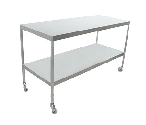 Instrument Table w/ Shelf (24 x 60 x 34) Stainless Steel w/ Heavy Duty Casters
