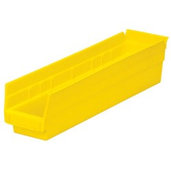 "Optional Shelf Bin: Qty/12. Inner: 16-1/2"" x 3"" x 4"" Color: Yellow"