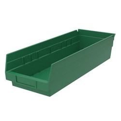 "Optional Shelf Bin: Qty/12. Inner: 16-1/2"" x 5-1/2"" x 4"" Color: Green"