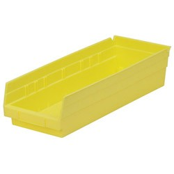 "Optional Shelf Bin: Qty/12 Inner: 16-1/2"" x 5-1/2"" x 4"" Color: Yellow"