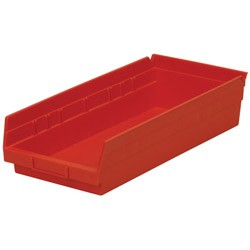 "Optional Shelf Bin: Qty/12. Inner: 16-1/2"" x 7-1/8"" x 4"" Color: Red"