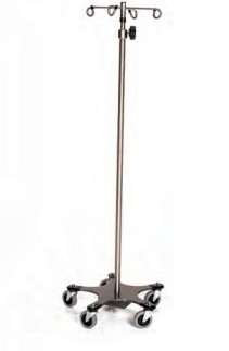 Infusion Pump Stand, Five-Leg, Stainless Steel, 6-Hook Top 16""