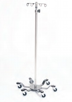 Infusion Pump Stand, Six-Leg, Stainless Steel, 6-Hook Top, 24""