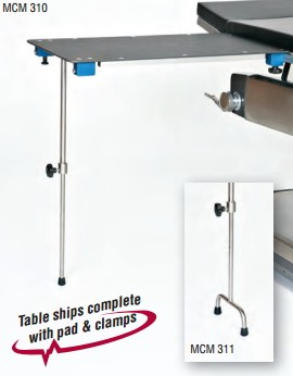 "Rectangular Arm/Hand Surgery Table with Single Post leg & 2"" Pad"