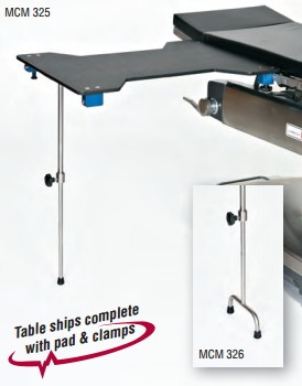 "Hourglass Carbon Fiber Arm/Hand Surgery Table with Single Post leg & 2"" Pad"