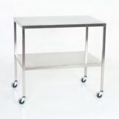 "Stainless Steel Instrument Table/Back Table with Shelf: 16"" W x 20"" L x 34"""