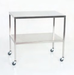"Stainless Steel Instrument Table/Back Table: 24"" W x 60"" L x 34"""