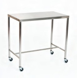 "Stainless Steel Instrument Table/Back Table: 24"" W x 36"" L x 34"""