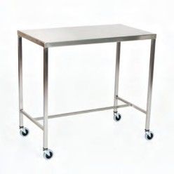 "Stainless Steel Instrument Table/Back Table: 24"" W x 48"" L x 34"""