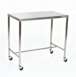 "Stainless Steel Instrument Table/Back Table: 24"" W x 72"" L x 34"""
