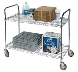 "Round Post Wire Shelving Carts: Dimensions: 18"" D x 36"" L x 39"""