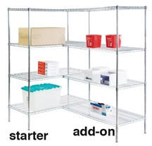 Round Post Wire Shelving Add-On Units: Add-On Kit; dimensions: 18