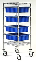 "Bin Stacker: Dimensions: 21"" D x 24"" L x 45"" Blue"