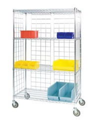 Round Post Enclosed Wire Carts: 3-Sided Cart; Dimensions: 24' D x 48' L x 78' H