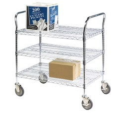 "Round Post Wire Shelving Carts: Dimensions: 24"" D x 48"" L x 39"" H: 3 Shelves"