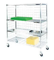 Square Post Enclosed Wire Carts: 3-Sided Cart; Dimensions: 18