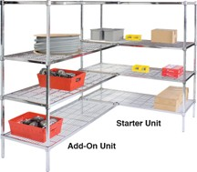 Square Post Wire Shelving Units: Starter Kit; dimensions: 18