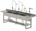 Pipe Base Processing Sink Dual Basin